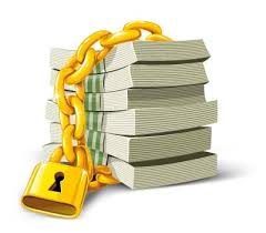 pile of documents secured with a chain and lock